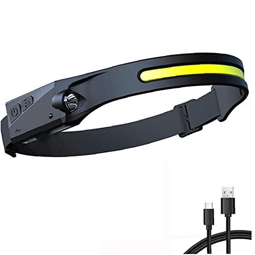 Linterna de sensor de camping de gran angular impermeable a prueba de agua de la cabeza de la COB con cable USB