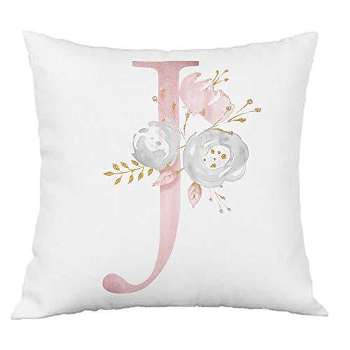 Hangood Pink Flowers Alphabet Letter Cushion Covers J 20x20 Soft Throw Pillow Cover 50cm x 50cm J