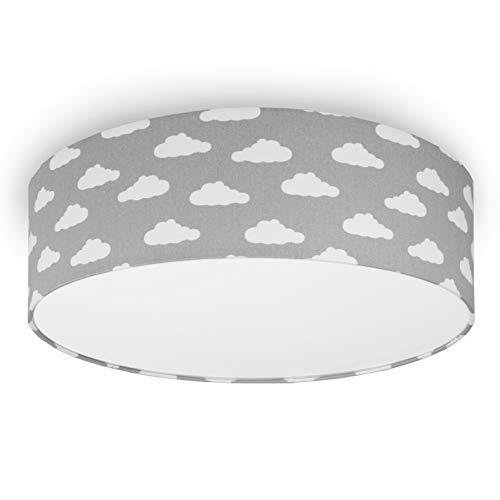 youngDECO Deckenlampe für Baby- und Kinderzimmer, 3xE27, Ø45cm großer Lampenschirm, Wolke auf Pastellgrau, skandinavische Kinderzimmer-Deko für Mädchen & Junge, Deckenleuchte für Kinderzimmer