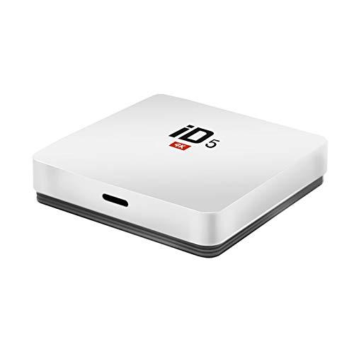 YGQNH Receptor De Dongle, ID5 Android Google Internet TV Box con S905X Quad Core 64Bit 2GB 16GB 2.4GHz WiFi Soporte 4K HD USB Media Player(Color:Blanco)