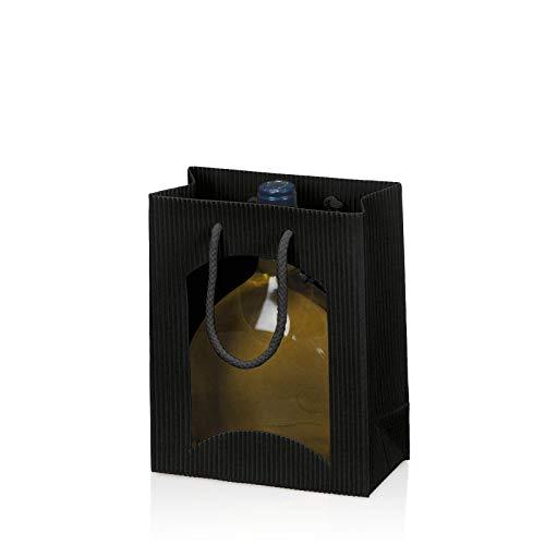 20x Bocksbeutel Flaschentragetasche 17+8,5x20 cm GeschenktascheFrost