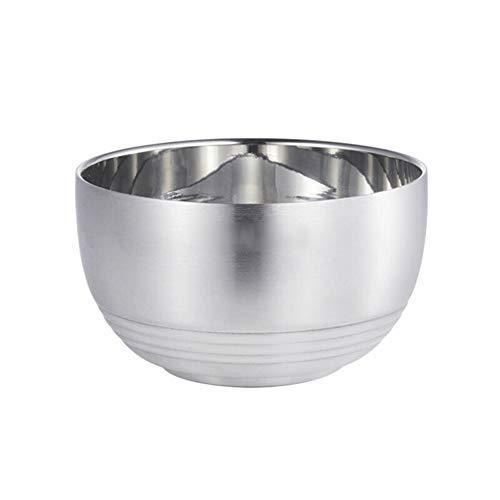 ZH Fraîche/Riz/Nouilles/Bol à céréales Approfondissez l'acier inoxydable 304 Double couche Avec couvercle Anti-échaudage Bol isolé Enfant (Couleur : Without lid, taille : 15 * 8CM)