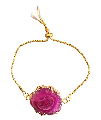 Pulsera para mujer de ágata rosa con borde dorado