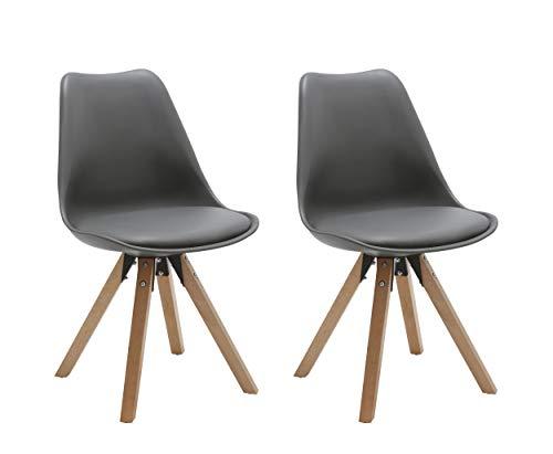 Duhome 2er Set Stuhl Esszimmerstühle Küchenstühle Farbauswahl mit Holzbeinen Sitzkissen Esszimmerstuhl Retro 518M, Farbe:Grau, Material:Kunstleder