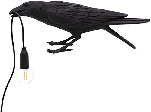 ausuky Bird Table Lamps Crow Desk Lamp Bedroom Wall Sconce Light Resin Decoration (black,Sitting Table Lamp)