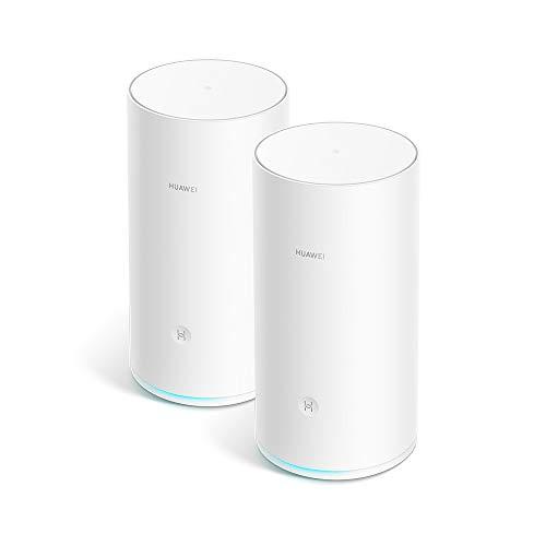 HUAWEI WiFi Mesh (2 Pack)- Router Mesh, Repetidor de wifi, Triple banda AC2200, CPU de cuatro núcleos 1.4GHz, Cobertura sólida y fiable en todo tu hogar(hasta 400 m²),Conexión con un toque, Blanco