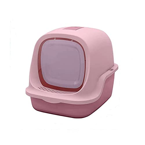 WTBH D Caja de arena para gatos y gatos, grande, totalmente cerrado, suministros para mascotas, a prueba de salpicaduras para gatos, orinal y gatos (color: rosa)