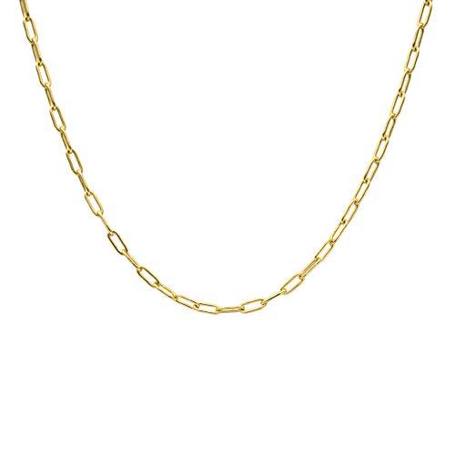 WILD SUN Gliederkette Gold Damen ohne Anhänger   Filigrane Choker Chain Halskette für Frauen   Hochwertige Goldene Kette aus 925 Sterling Silber mit 18K vergoldet