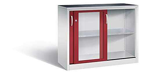 Werkzeugschrank mit Sichtfenster-Schiebetüren, 1 Boden, H1000xB1200xT500mm