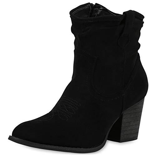SCARPE VITA Damen Stiefeletten Cowboy Boots Leicht Gefütterte Stiefel Western Schuhe Wildleder-Optik Cowboystiefel 189556 Schwarz 40