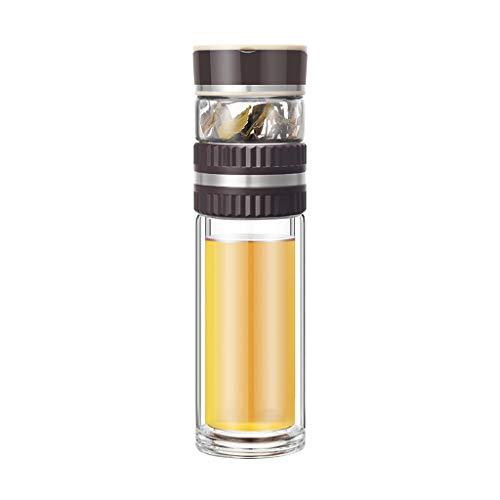 JLXW glazen koffiemok met siliconen ring voor warme of koude dranken, ideaal voor kantoor, reis, stoelen, auto, drankhouder, multifunctionele teacup bijpassende kwasten
