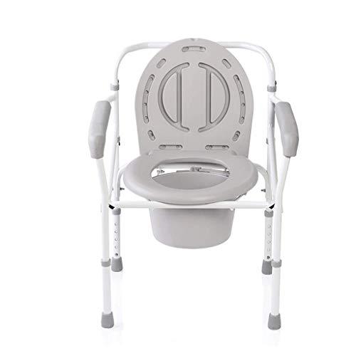 Draagbaar toilet, stalen bedhoofd thuiszorg toiletpot, in hoogte verstelbare mobiele toiletstoel