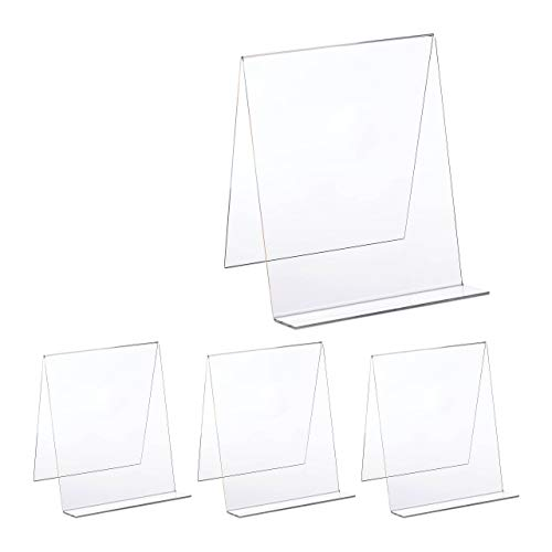 4 x Buchaufsteller, Acryl Kochbuchhalter DIN A4, stabil, leicht, Heftständer HxBxT: 24 x 20 x 20 cm, durchsichtig