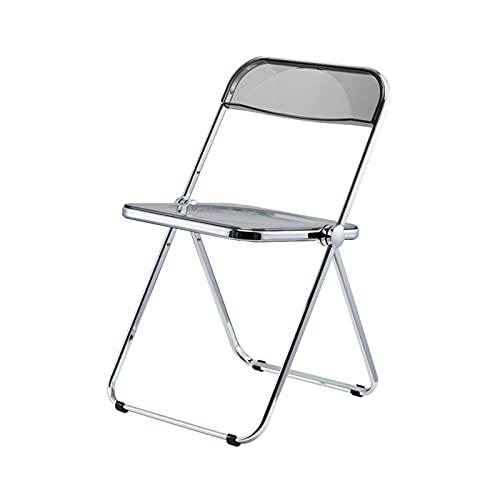 Folding chair Klappstuhl,Esszimmerstuhl,Transparenter Acryl-Klappstuhl Mit Rückenlehne,Fotohocker Für Bekleidungsgeschäfte (Color : Smoky Gray)