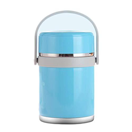 Fiambrera con aislamiento SCEFF – Fiambrera de acero inoxidable a prueba de fugas apilable con bolsa y cubiertos reutilizables para almacenamiento térmico de alimentos (color: azul)