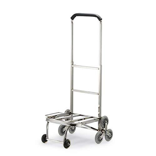 DBSCD Hand Trolley Faltbare Climb Gebäude Haushalt Edelstahl Silent Crystal Wheel Das Chassis kann gefaltet Werden, Last 120 kg