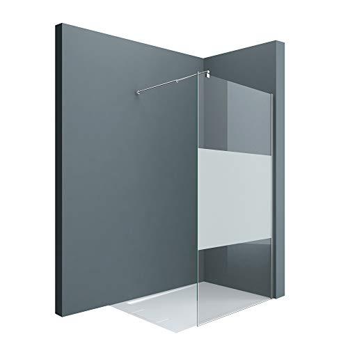 doporro Luxus Duschwand Duschabtrennung Bremen2MS 140x200 Walk-In Dusche mit Stabilisator aus Echtglas 10mm ESG-Sicherheitsglas Klarglas inkl. Nanobeschichtung