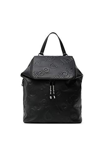 Desigual PU Backpack Big, Mochila de Poliuretano Grande. para Mujer, Negro, Medium