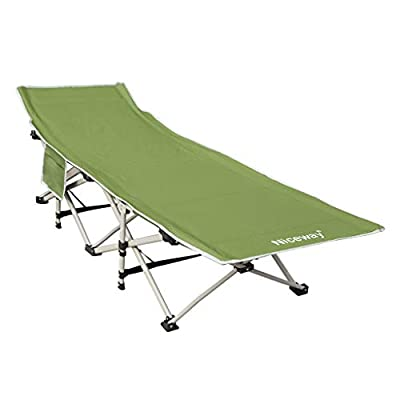 Niceway Oxford Portable Folding Bed Cot for Camping with Storage Bag,Suit for Camping, Noon Break,Weight Capacity to 300 lbs Green