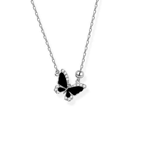 Collar de Mariposa Mujer 925 Colgantes de Plata esterlina Collar de clavícula Ins Diseño de Moda Collar Colgante Joyas para Novia Madre Negro Oscuro