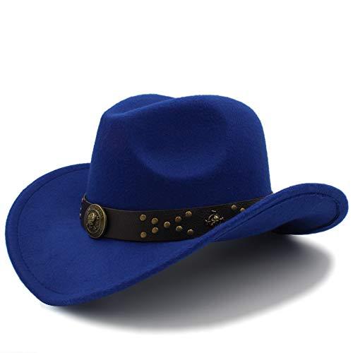 LANZHEN-RY Faro 9006 Western Cowboy Hats Gorras de Viaje para Mujeres Gorras de Hombres Sombreros Vintage Cowgirl Cowboys Sombreros Felt Jazz Cap Bombilla (Color : Blue)