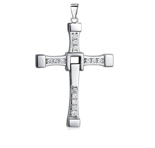 the Fast and Furious Men With 925 Sterling Silver Set Auger Cross Pendant