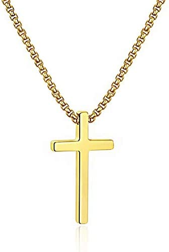 M MOOHAM Stainless Steel Cross Pendant Necklaces for Men Boys Pendant Chain 16 Inch Gold product image