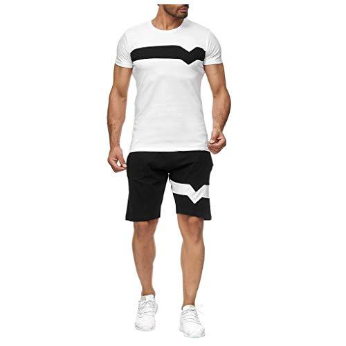 Sonojie Herren Jogginganzug Sportanzug 2-Teiliges Outfit Sport Set Kurzarm Streifenspleißen Suit Sommer Freizeit Kurze Sets Sporthose + T-shirt mit Taschen Männer Trainingsanzug