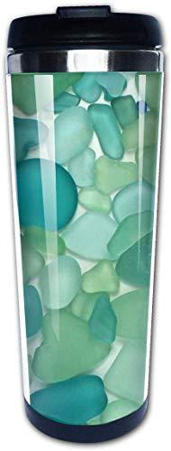 Yuanmeiju Colorful Beachglass Sea Glass Teal Beach Ocean Coastal Tazas de café náuticas Botella de agua de acero inoxidable Taza de viaje Taza de café para mujeres hombres niños adolescentes