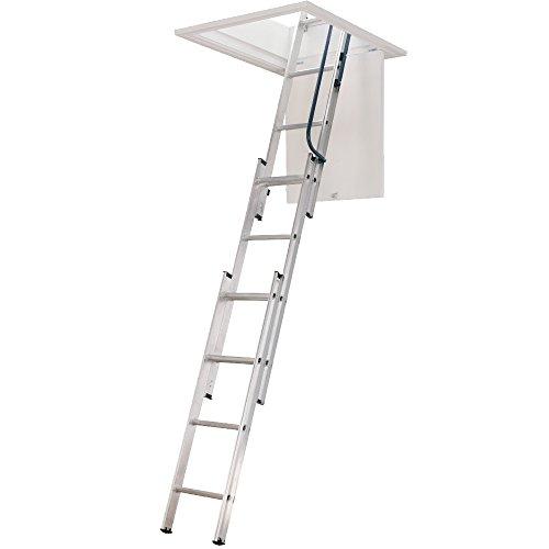 Werner 3 secciones de aluminio escalera para desván cocina plegable