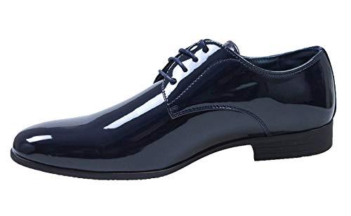 Evoga Scarpe uomo Class blu scuro vernice man's shoes eleganti cerimonia (43, Blu)