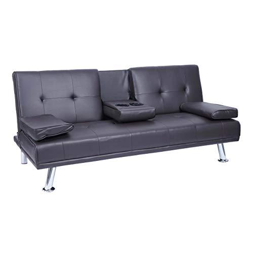 Mendler 3er-Sofa HWC-F60, Couch Schlafsofa Gästebett, Tassenhalter verstellbar 97x166cm - Kunstleder, braun