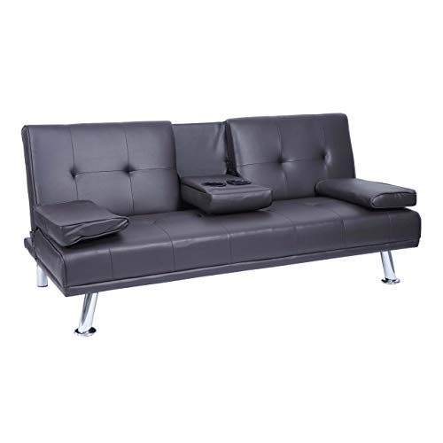 Mendler 3er-Sofa HWC-F60, Couch Schlafsofa Gästebett, Tassenhalter verstellbar 97x166cm ~ Kunstleder, braun
