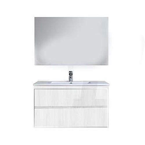 Base 66 x 44 x 50 cm mélèze blanc pour meuble de salle de bain série SIRY à composer