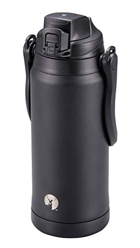 キャプテンスタッグ(CAPTAIN STAG) スポーツボトル 水筒 直飲み ダブルステンレスボトル 真空断熱 保冷 HDウォータージャグ 2.3L スポーツドリンク対応 ショルダーベルト付き ブラック UE-3500