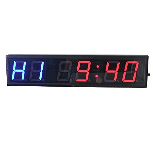 Meerdere Functies Timer LED Gym Timer Stopwatch, Programmeerbare LED Interval Timer Stopwatch Sport met afstandsbediening for Fitness Crossfit Gym Buitenklokk