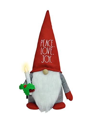 Rae Dunn Christmas Gnome with Working Candle Peace, Love, Joy - 19 Inch Stuffed Plush Santa Figurine Doll with Felt Hat - Cute Ornaments and Holiday Decorations for Home Decor and Office