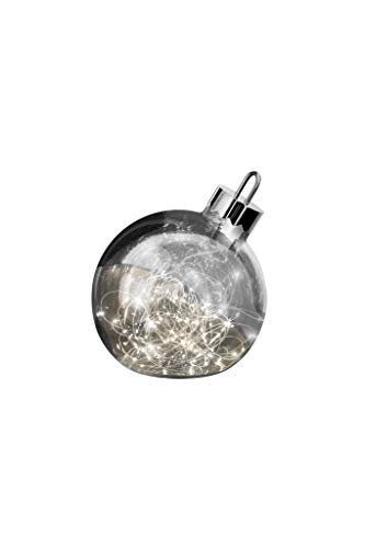 sompex LED Dekoleuchte Ornament | Große Weihnachtskugel mit Beleuchtung | Dekoelement Fußboden/Fensterbank, Durchmesser:Ø 20 cm, Farbe:Smoke