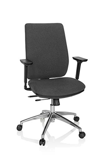 hjh OFFICE 820026 Profi Bürostuhl INTEGRIO I Stoff Dunkelgrau Drehstuhl ergonomisch, Rückenlehne höhenverstellbar, gepolstert