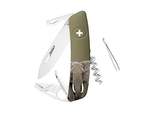SWIZA Taschenmesser TT03, Tick Tool, Stahl 440, rostfrei, Sperre, khakifarbene Schalen, Elefantenmotiv, 11 Funktionen