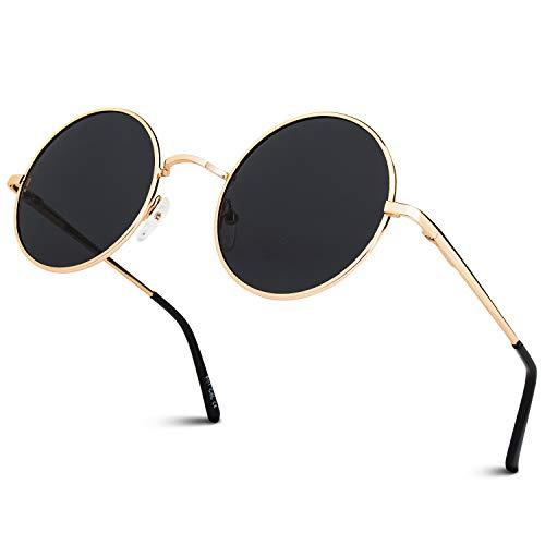 GQUEEN Lunettes de soleil polarisées classiques Ronde Rétro Vintage Métal Cadre Lennon pour Homme et Femme Unisexe avec protection UV400 MEZ1