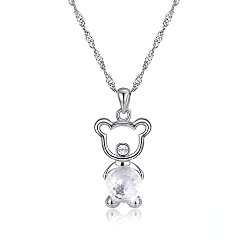 Yandm Sterling Silver Cute Bear Austria Crystal Pendant Necklaces for Women Anniversary Jewelry White