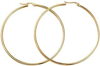 PH PandaHall 6 Pairs Golden Hoop Earrings Piercing Earrings Basic Plated Click Hoop Ring Stainless Steel Rounded Tube for Women Girls Earring Jewelry 65x2mm