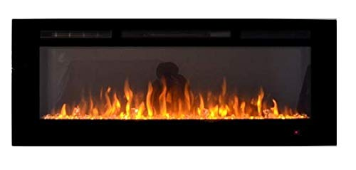 TruFlame 2020 NEW PREMIUM PRODUCT 50inch Black Wall Mounted Electric Fire with 3 colour Flames and can be inserted (Pebbles, Logs and Crystals)