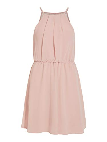 Vila Clothes Damen VIMICADA S/L Short Dress/DC/SU Kleid, Pale Mauve, 34