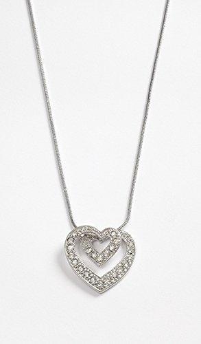 Talbot Fashion dubbele hart hanger met kristallen stenen op slang ketting