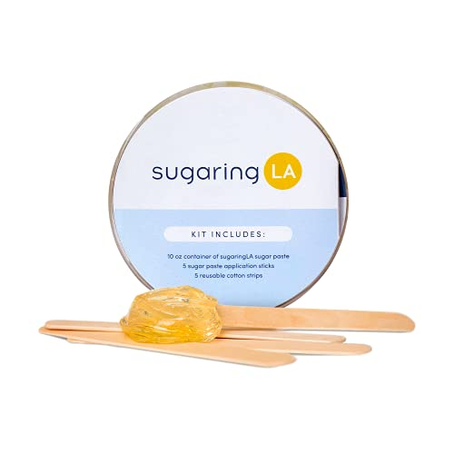 sugaringLA Sugaring Kit, At-Home Sugaring Hair Removal, Fast, Easy Body and Intimate Area Hair Removal w/ Sugar Paste, Get Smooth, Exfoliated Skin, 10 oz. Hair Removal Kit