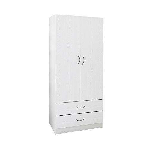 Armadio Gaia bianco doppia anta 2 cassetti in legno, da 80x190x52 cm Bianco