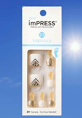 Kiss ImPress Press-On Pedicure Toe Nails IMT04Z Flower Shower (White & Gold) For Toes