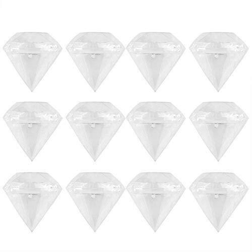 TOPINCN 12pcs Scatole Bomboniere Forma Diamante Souvenir Regalo Set Scatola Caramelle Diamante Forma Scatola in Plastica Trasparente Decorazione Regalo Regalo Sposa